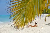 Palm leaf hanging over exotic beach at Saona Island. A woman is sunbathing in the background.