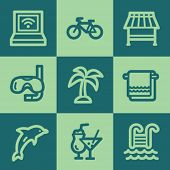Vacation web icons, green square buttons set