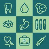 Medicine web icon set 1, green square buttons set