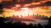 An image of a beautiful sunset over panoramic Sydney