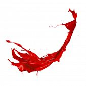Red paint splash, isolated on white background