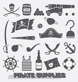 stock photo of cannonball  - Collection of pirates supplies icons and silhouettes - JPG