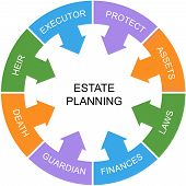 stock photo of asset  - Estate Planning Word Circle Concept with great terms such as heir laws assets and more - JPG