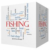 Fishing 3D Cube Word Cloud Concept