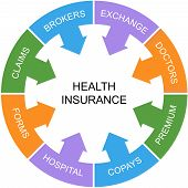 Health Insurance Word Circle Concept