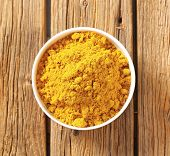 overhead view of bowl with curry powder