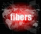 Fibers Word On Digital Screen, Mission Control Interface Hi Technology
