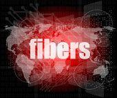 Fibers Word On Digital Screen, Mission Control Interface Hi Technology