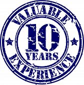 Valuable 10 years of experience rubber stamp, vector illustration
