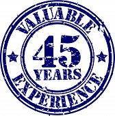 Valuable 45 years of experience rubber stamp, vector illustration
