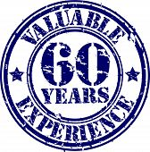 Valuable 60 years of experience rubber stamp, vector illustration