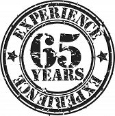 Grunge 65 years of experience rubber stamp, vector illustration