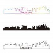 Singapore Skyline Linear Style With Rainbow