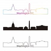 stock photo of washington skyline  - Washington DC skyline linear style with rainbow in editable vector file - JPG