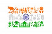 Indian Flag with Cultural Object