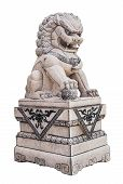 Chinese Stone Lion Sculpture On White