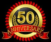 50 years anniversary golden label with ribbons, vector illustration