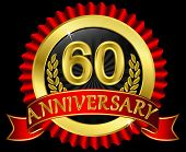 60 years anniversary golden label with ribbons, vector illustration