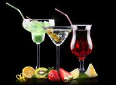 picture of pina-colada  - alcohol cocktail set with tasty summer fruits - JPG