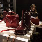 Shoes And Bags On Display At Mipap Trade Show In Milan, Italy