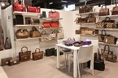 Bags On Display At Mipap Trade Show In Milan, Italy