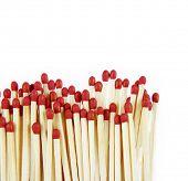 Pile of matchsticks on white