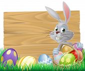 stock photo of peep  - Easter wood sign with the Easter bunny and painted Easter eggs - JPG