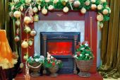 Fireplace With A Christmas Decoration