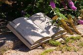 Stone Book in the garden