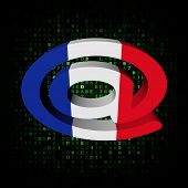 e-mail address AT symbol with French flag on hex illustration