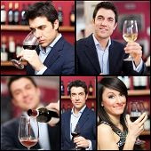 Collage of people holding wine glasses