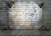 photo studio in old room with brick wall