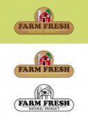 Farm Fresh Food Label with Barn and Silo Vector Illustration. Shaded, flat design and black and white variations of food and packaging label