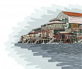 Editable vector illustration sketch of wooden waterside buildings