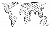 Editable vector rough outline sketch of a world map