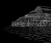 Editable vector illustration sketch of waterside wooden buildings