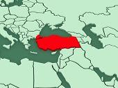 Map of worlds. Turkey. 3d