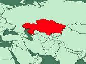 Map of worlds. Kazakhstan. 3d