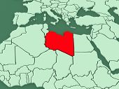 Map of worlds. Libya. 3d