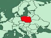 Map of worlds. Poland. 3d