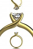 Set of Wedding Ring with diamond. Jewelry background