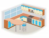 modern kitchen interior (vector illustration)