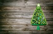 Wooden Christmas Background Decorated With Tree Of Green Balls.