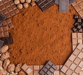still life of chocolate in cocoa