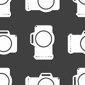 Photo camera web icon. flat design. Seamless gray pattern.