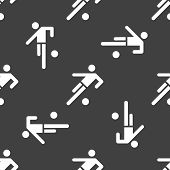 football player web icon. flat design. Seamless gray pattern.