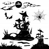 stock photo of grebe  - Halloween cartoon landscape - JPG