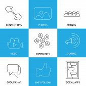 Social Media Icons Of Friends, Like, Videos & Photos
