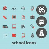 school, education isolated icons, signs, illustrations, silhouettes set, vector