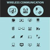 wireles communication isolated icons, signs, illustrations, silhouettes set, vector